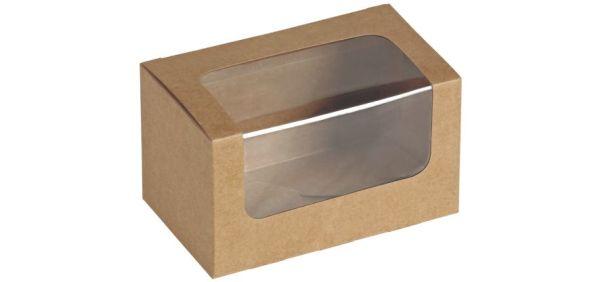 Sandwich/Kagebox Kraft m PLA vindue 125x77x72mm - 25 stk pk