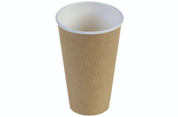 Kaffebæger riffel wall 4dl/16oz, Ø90mm, FV beige brun - 400 stk. krt