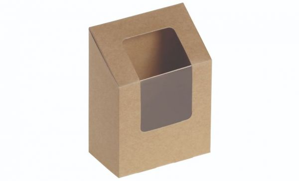 Wrap box kraft karton m PLA vindue