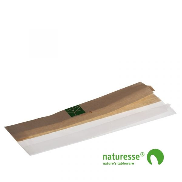 Sandwichpose i PaperWise/PLA, ½ - ½, 280x100x2x30mm - 500 stk krt