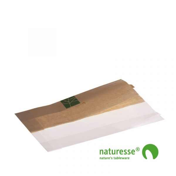 Sandwichpose i PaperWise/PLA, ½ - ½, 230x140x2x30mm - 500 stk krt