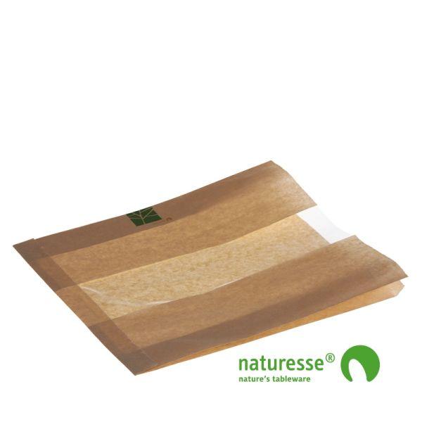 Sandwichpose m vindue i PaperWise/PLA, 270x260x2x35mm - 500 stk krt