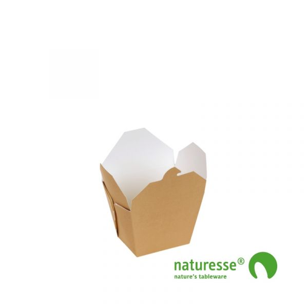 Take-Away Box i Karton/PLA, 85x65x90mm, 700ml, FSC® MIX Papir - 400 stk krt