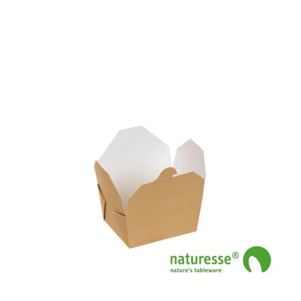 Take-Away Box i Karton/PLA, 110x90x65mm, 800ml, FSC® MIX Papir - 260 stk krt