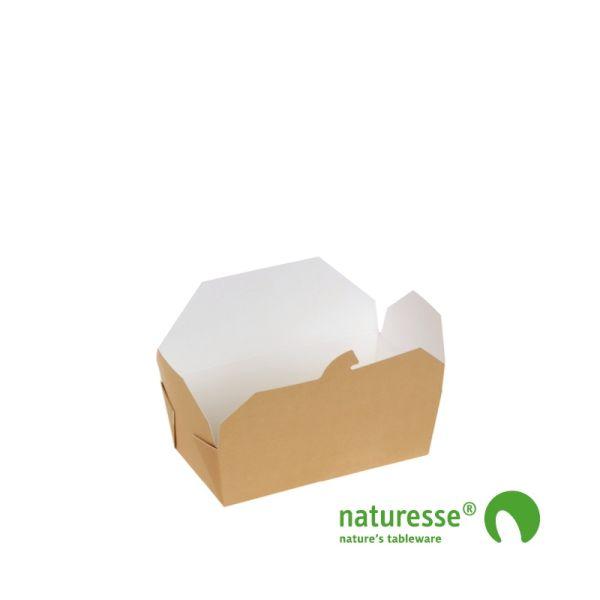 Take-Away Box i Karton/PLA, 152x120x65mm, 1.400ml, FSC® MIX Papir - 20 stk pk