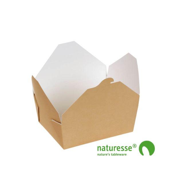Take-Away Box i Karton/PLA, 160x90x60mm, 1.000ml, FSC® MIX Papir - 250 stk krt