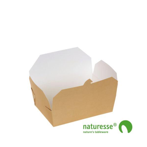 Take-Away Box i Karton/PLA, 140x200x66mm, 2.000ml, FSC® MIX Papir - 200 stk krt
