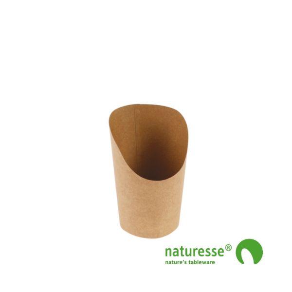 Wrap bæger i Karton/PLA natur 360ml, Ø120x85/60mm - 50 stk pk