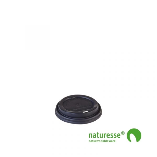 Engangskop i Karton/PLA  2dl - CPLA domlåg til bægrer Ø 80mm sort - 1000 stk krt