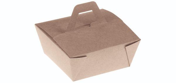 Bambuskarton, PLA coated takeaway box m håndtag, 150x150x65mm - 300 stk krt