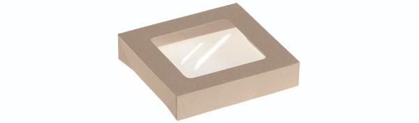 Bambuskarton, låg m PLA rude til takeaway box 19601 - 400 stk krt