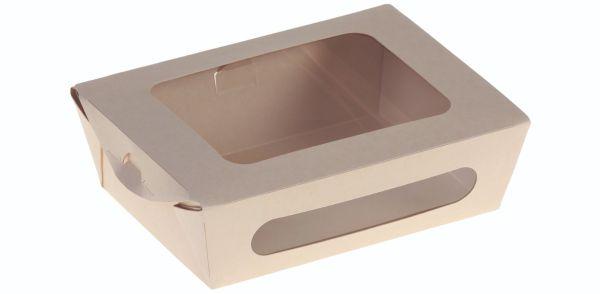 Bambuskarton, Rudebox PLA coated m hængslet låg, 210x160x40mm - 200 stk krt