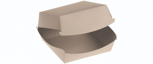 Bambuskarton, Burgerbox PLA coated m hængslet låg, 110x95x75mm - 50 stk pk