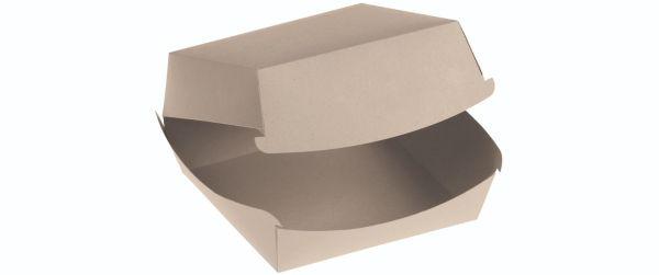 Bambuskarton, Burgerbox PLA coated m hængslet låg, 110x95x75mm - 200 stk krt