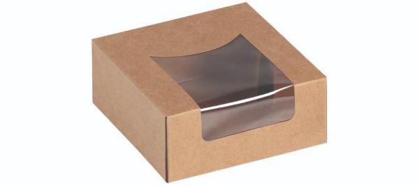 Sandwich/Kagebox Kraft m PLA vindue 120x120x50mm - 500 stk krt