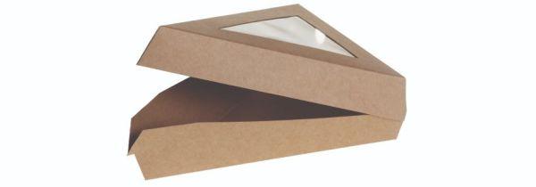 Karton/PLA kraft kage trekant, m PLA vindue 167x129x45mm, FSC MIX CREDIT - 200 stk krt