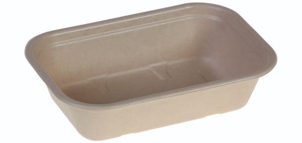 Tray rectangular 1000ml , 229x153x57mm, nature, PBAT lamination - 250 stk krt