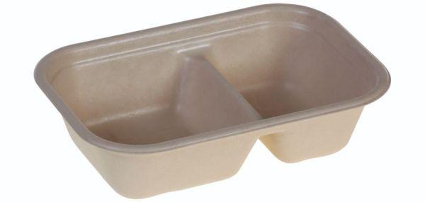 Tray rectangular 420/250ml, 229x153x57mm, 2-comp., PBAT lamination - 125 stk krt