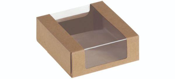 Food Box with window, Kraft/PLA, 110x110x40 mm - 500 stk krt