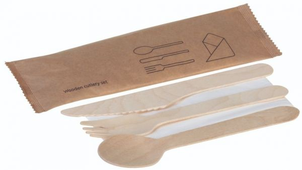 Træ, Sæt 4 dele, kniv, gaffel, ske og serviet, FSC 100% - 250 stk krt*