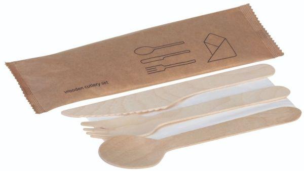Træ, Sæt 4 dele, kniv, gaffel, ske og serviet, FSC 100% - 1 stk pk*