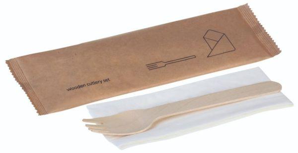Træ, Sæt 2 dele, gaffel og serviet - 1 stk pk*