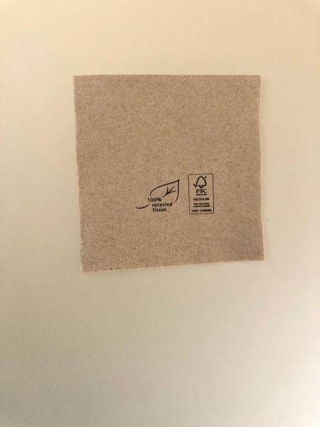 Papirserviet, 3-lag, Natur (25x25cm) - 1500 stk krt